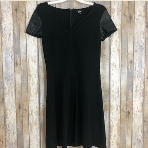 ❤️ Ann Taylor Black Dress Faux Leather Sleeve (4)
